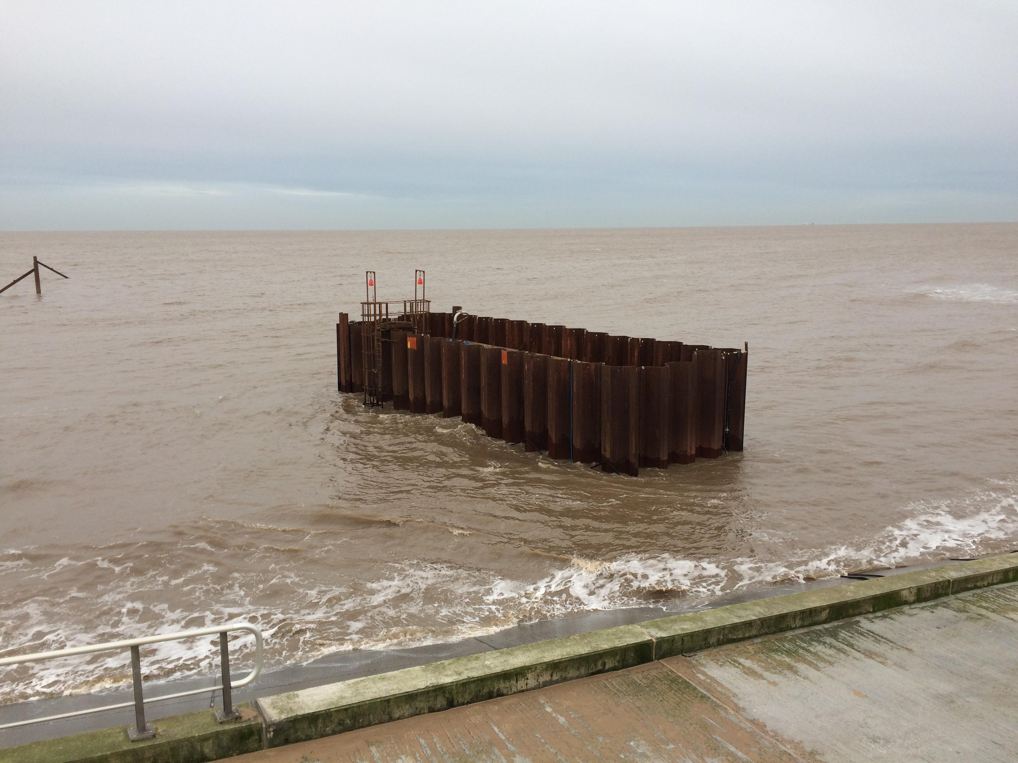 The Anchorsholme outfall cofferdam in the Irish Sea