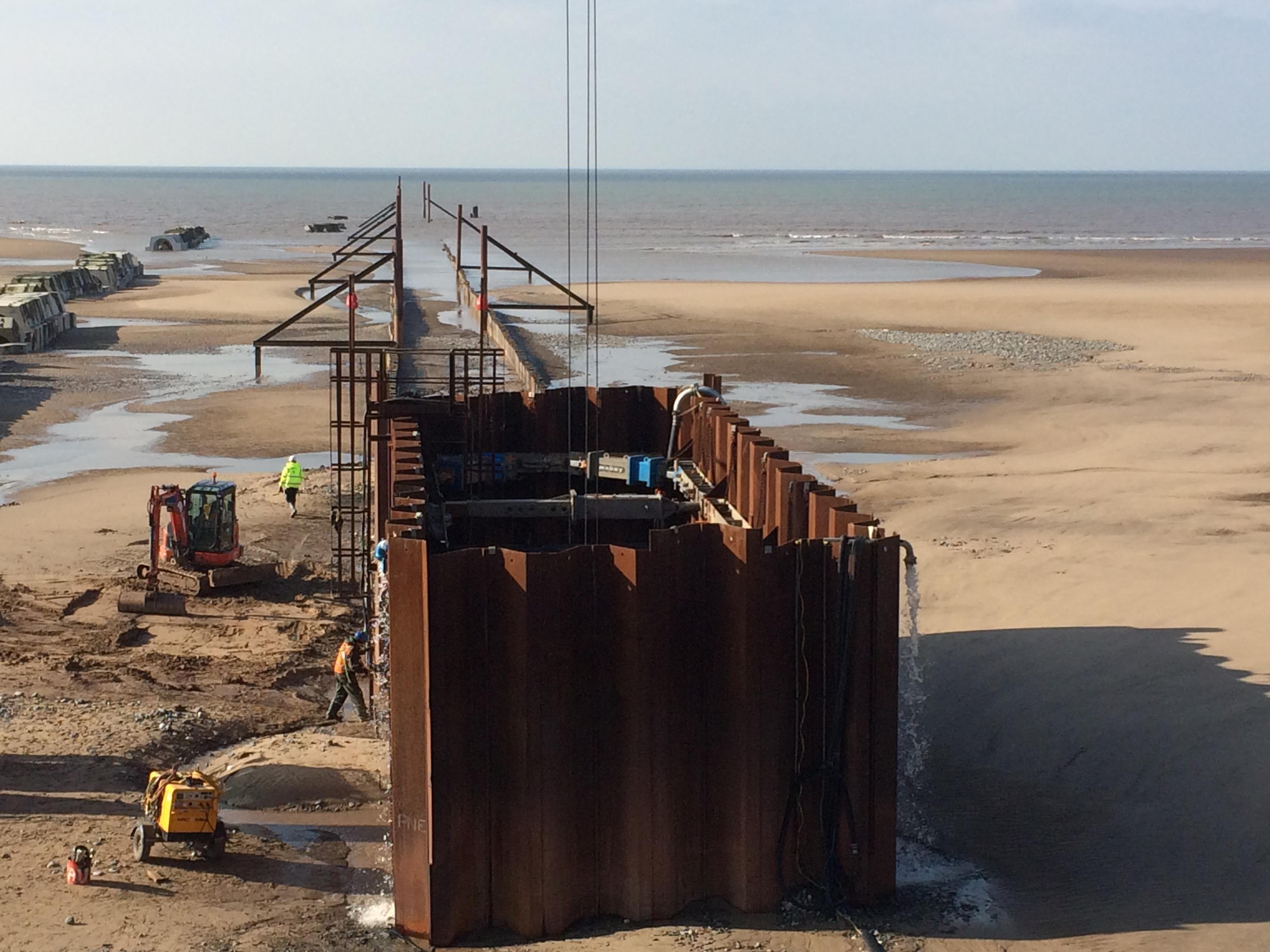 The Anchorsholme outfall cofferdam at low tide