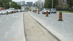 Across much of Eglinton from Victoria Park to Ionview, medians have been removed to make way for the Eglinton Crosstown