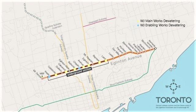 Map of the Eglinton Crosstown Light Rail project